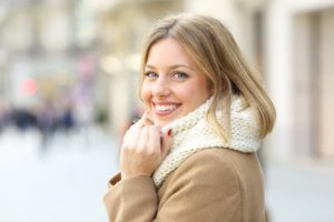 woman smiling in winter